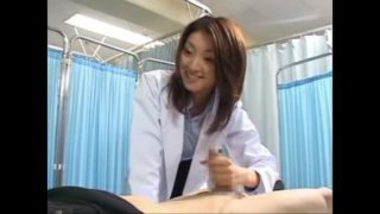 Sexy Asian Doctor Jerking Off Patient's Penis