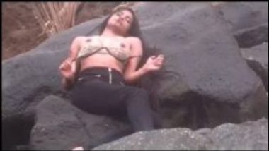 Poonam Pandey Showing Lovely Boobs On The Rocks
