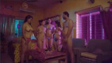 Indian office girls group sex party with boss