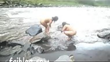 Lesbian south Indian aunties' nude open bath alongside river
